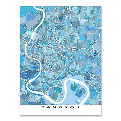 Amazon.com: Bangkok Map Print, Thailand Southeast Asia, City Street ...