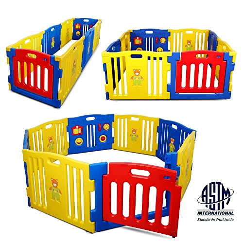Kidzone Interactive Baby Playpen 8 Panel Safety Gate Children Play Center Home Child Activity Pen ASTM Certified Blue