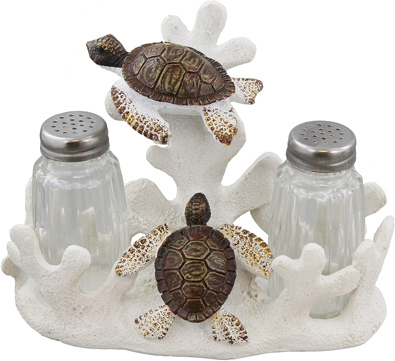 Sea Turtles Salt & Pepper Set - Ocean Beach Nautical Sea Shell Decor