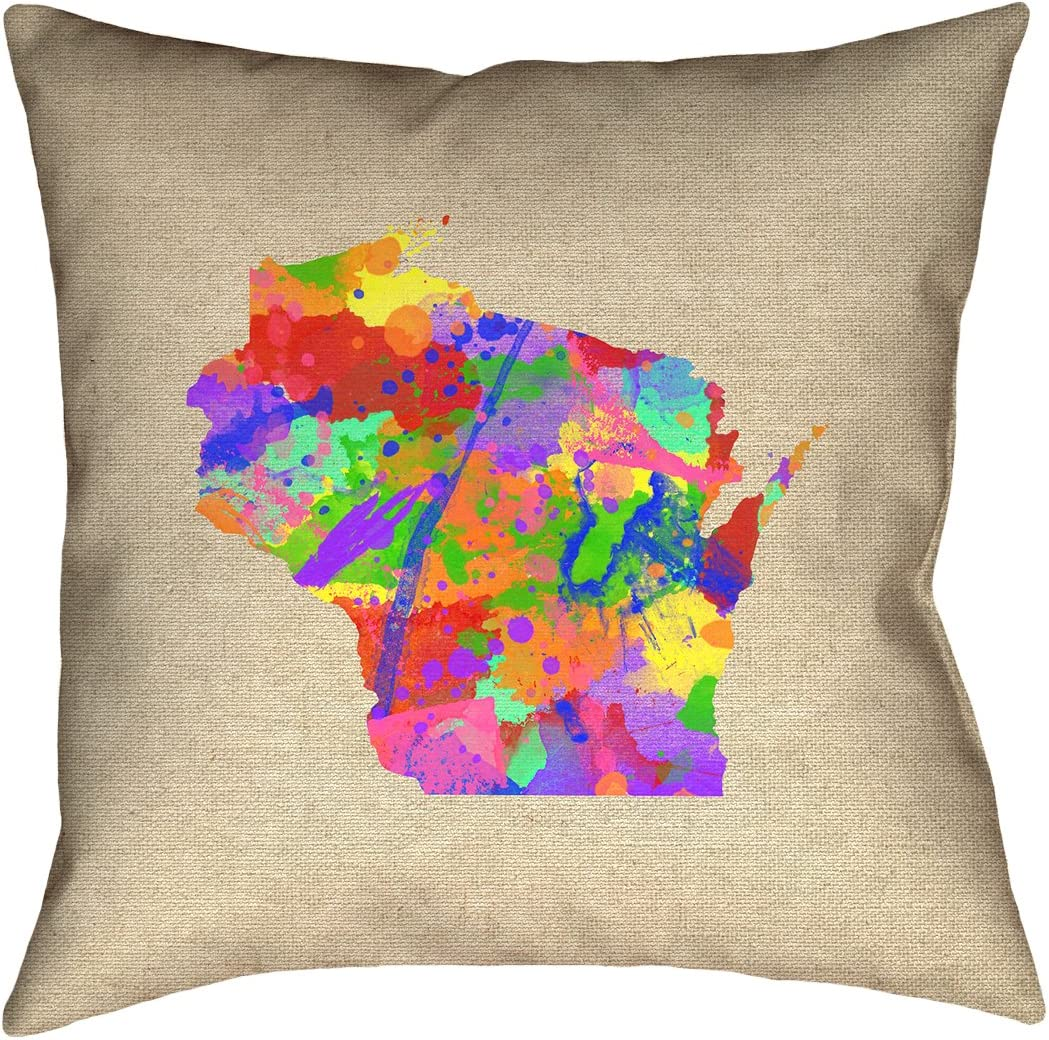 ArtVerse Katelyn Smith 18 x 18 Faux Suede Double Sided Print with Concealed Zipper Insert Wisconsin Watercolor Pillow