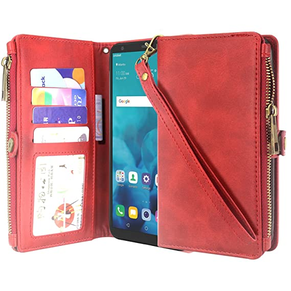 the best attitude b4dce 50642 LG Stylo 4 / Stylo 4 Plus Case, LG Q Stylus Case, Lacass Premium Leather  Flip Zipper Wallet Case Cover Stand Feature with Card Holder and Wrist  Strap ...