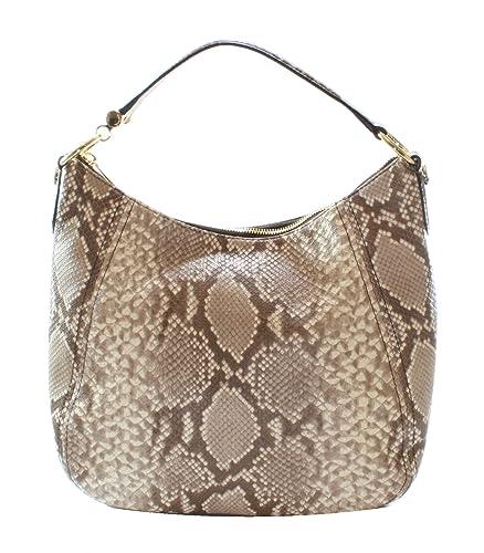 michael kors fulton cocoa snakeskin embossed leather shoulder bag rh amazon co uk