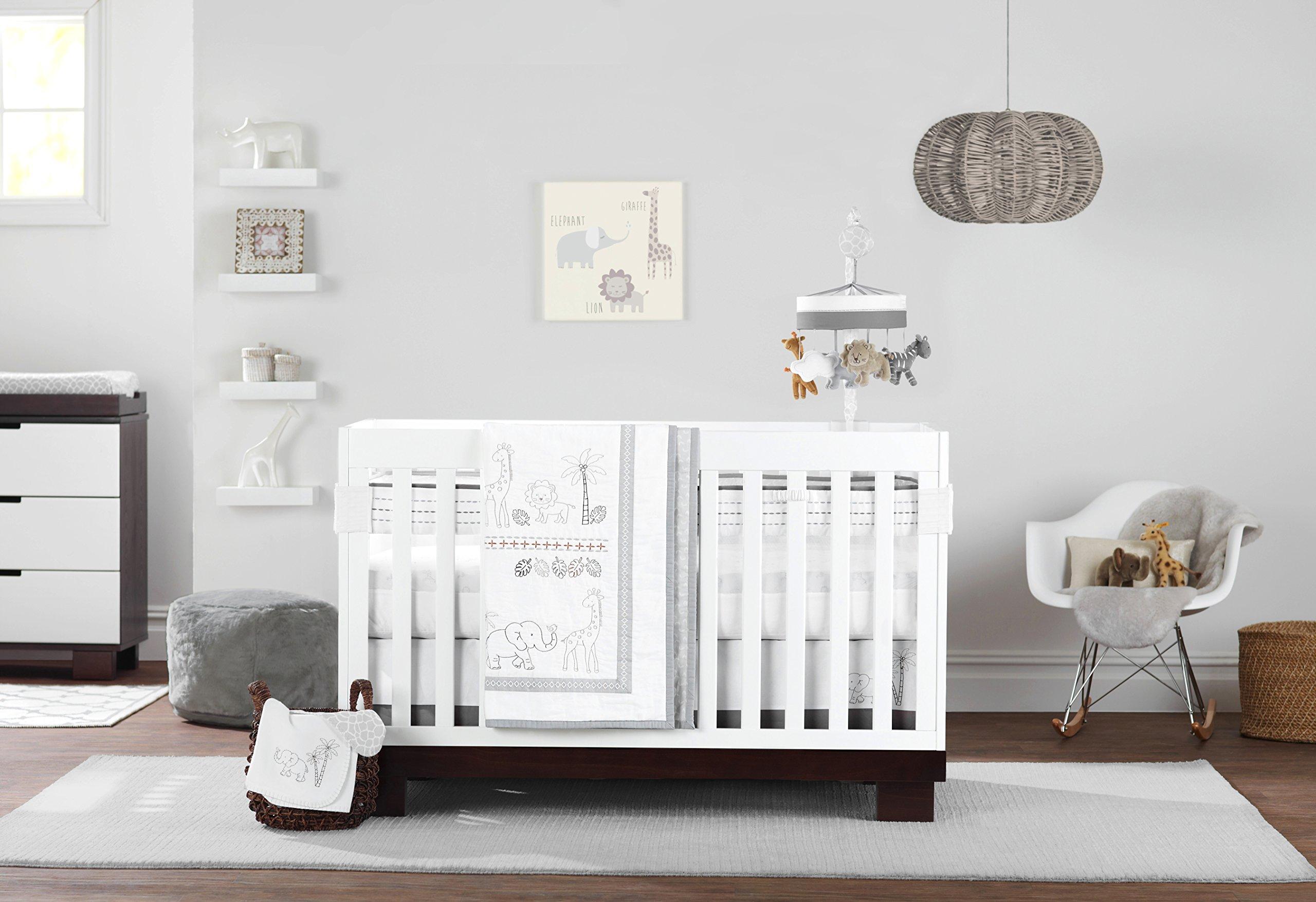 Just Born Animal Kingdom 3 Piece Crib Bedding Set, Safari/Jungle Neutral