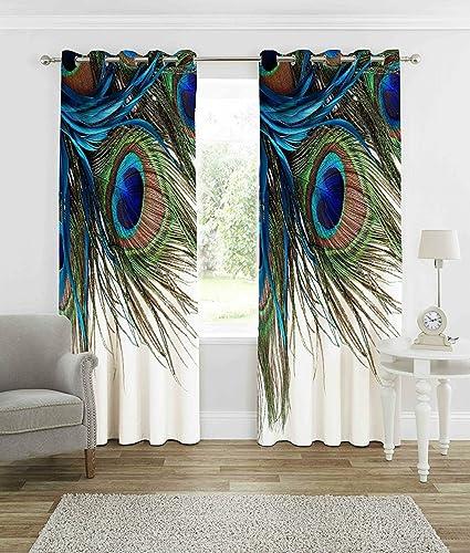 Buy Homecrust 3d Curtain Elegant Curtains Peacock Wings 4 X 7 Feet