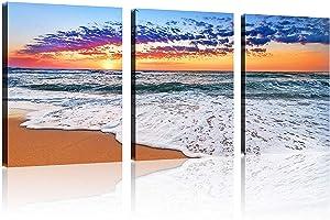 "TutuBeer 3 Panels Beach Home Beach Decor for Home Beach Art Colorful Ocean Beach Kitchen Decor Sunrise Beach Wall Decor for Home Beach Wall Art Beach Room Decor Wall Decor 12"" x 16"" x 3 Pieces"