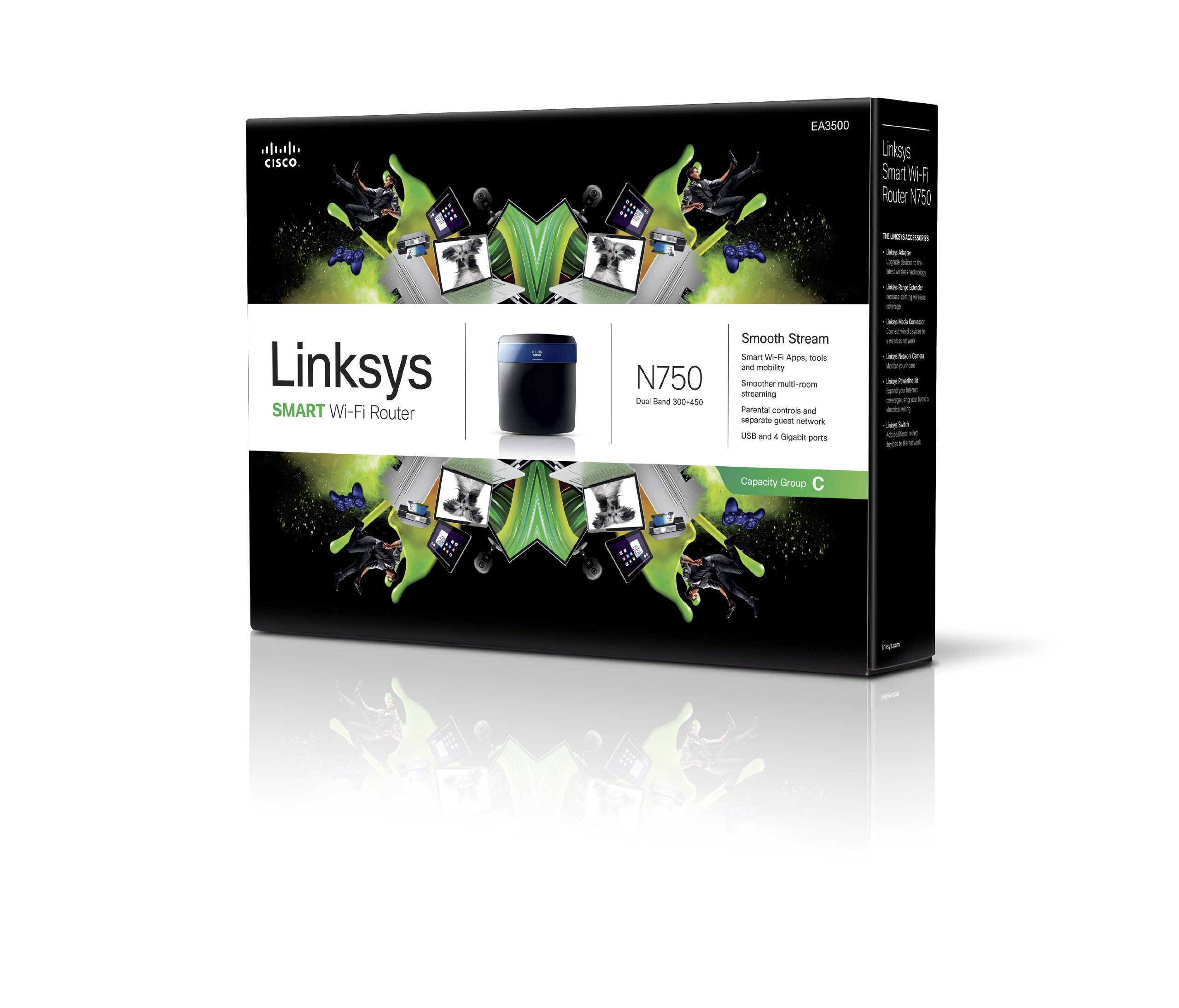 Linksys N750 Wi-Fi Wireless Dual-Band+ Router with Gigabit & USB