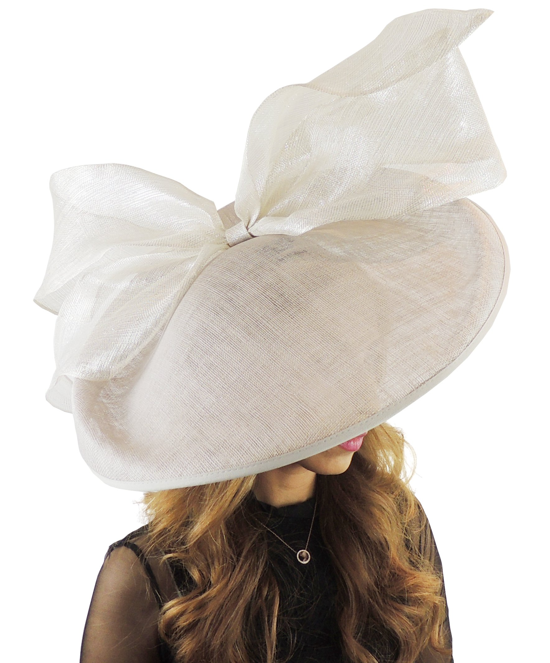Hats By Cressida Gorgeous Barn Owl Pale Grey Large Saucer Bow Ascot Derby Wedding Hat