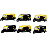 Laxmi Collection Perpetual Bliss Auto Rickshaw Toys for Kids with Pull Back Action/Birthday Dimension cm 7x13x8 (Pack of 6)