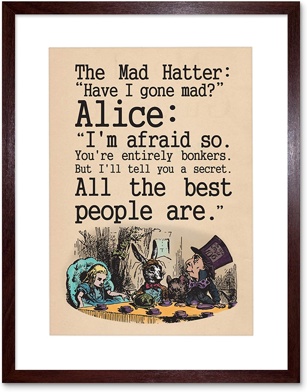 Amazon Com The Art Stop Quote Carroll Book Alice Wonderland Mad Hatter Tea Party Framed Print F97x9832 Posters Prints