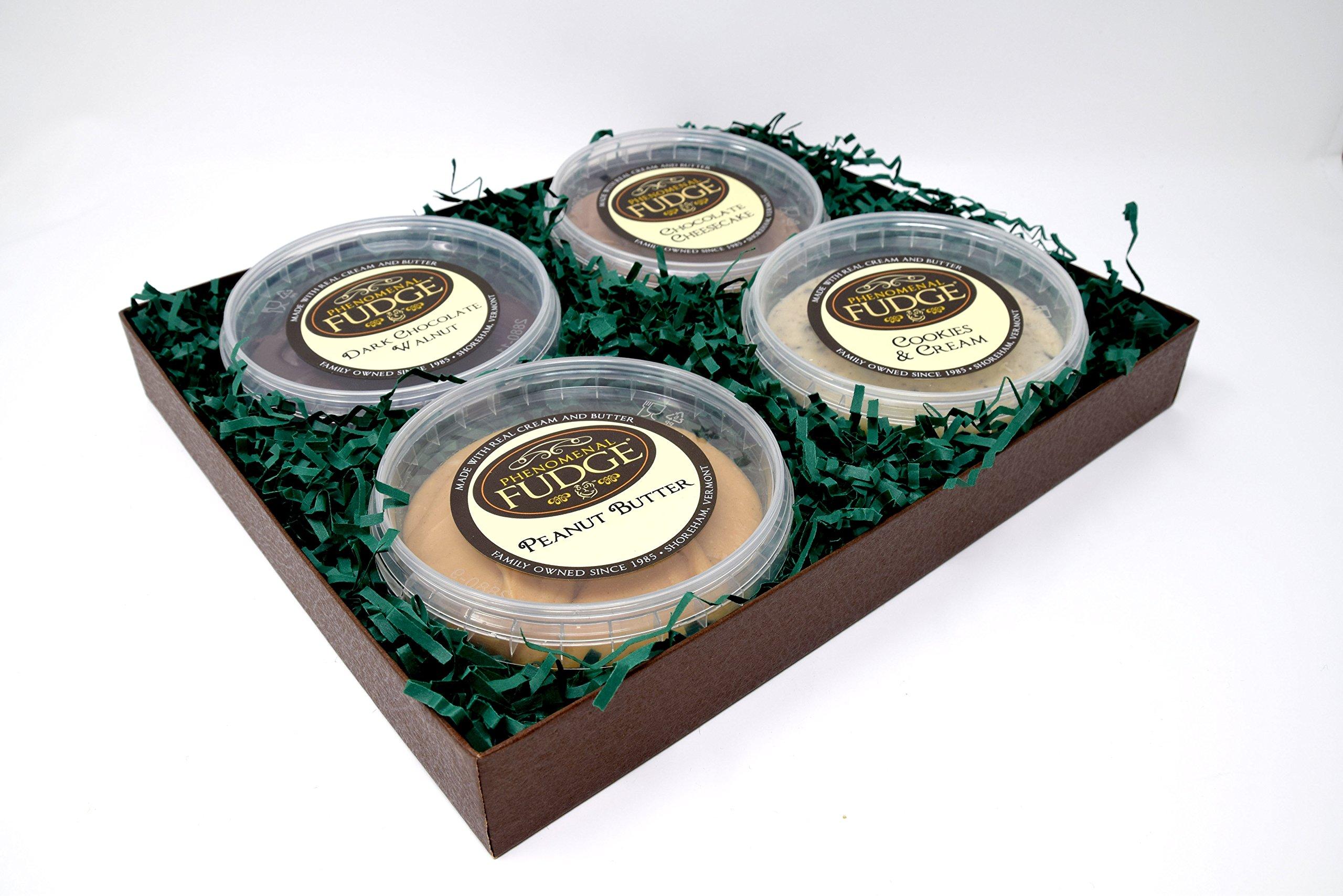 Phenomenal Fudge 4 Flavor Gift Box | Homemade Fudge | Chocolate Cheesecake | Dark Chocolate Walnut | Peanut Butter | Cookies and Cream by Phenomenal Fudge