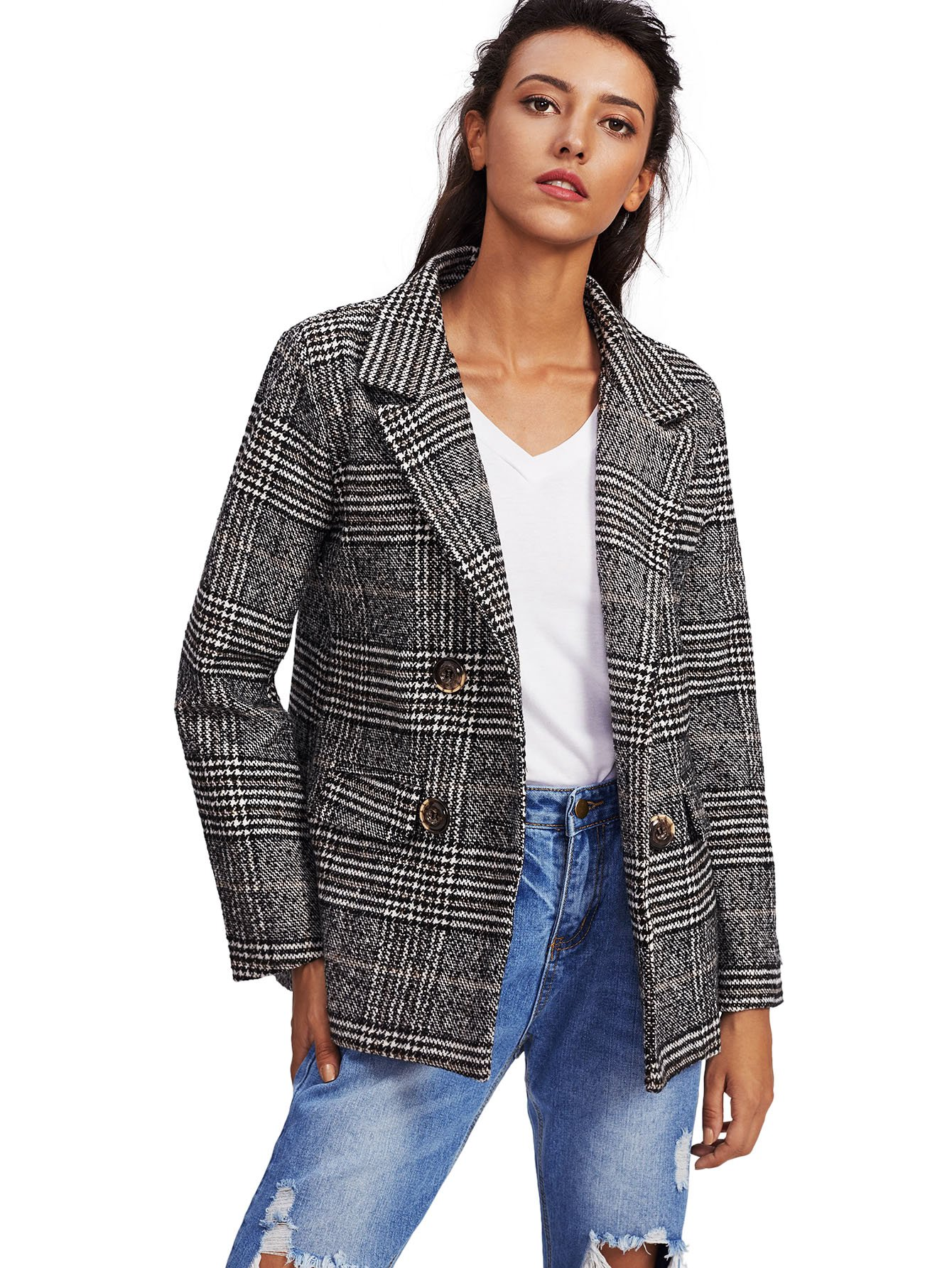 SheIn Women's Long Sleeve Plaid Notch Lapel Blazer Workwear Grey Medium