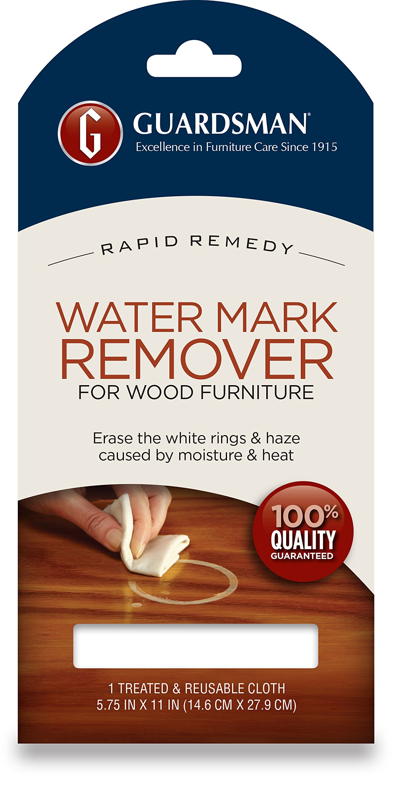 Guardsman water mark remover cloth erase white rings haze caused by moisture and heat