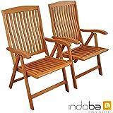"""Indoba 2x Gartenstuhl,""""Sun Flair"""" - Hochlehner - Serie, braun, 59 x 61 x 105 cm, IND-70002-ST"""