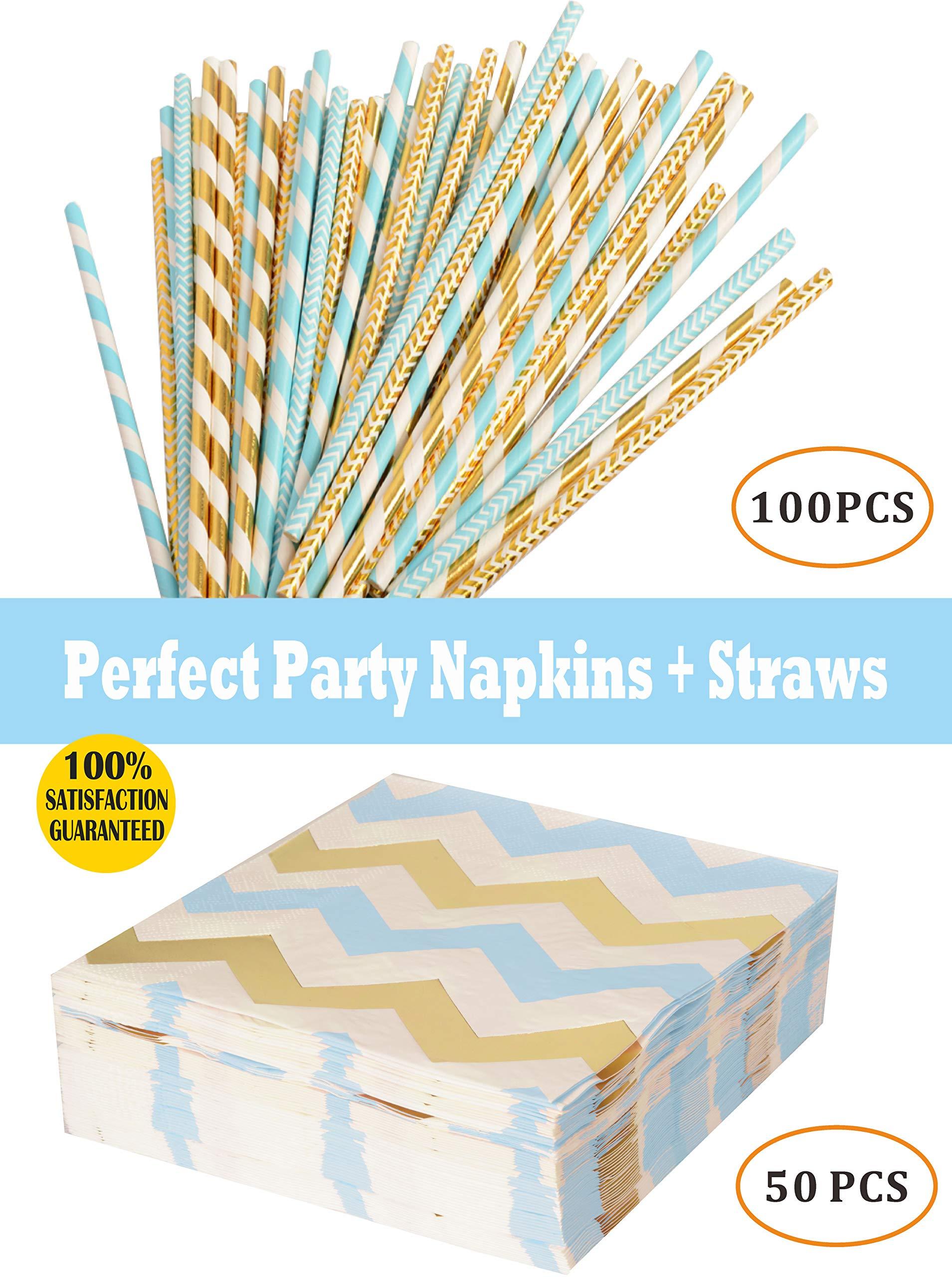 Meant2ToBe Blue Paper Straws Napkins, Baby Boy Shower Supplies, 100pc Boys Birthday Party Straws 50pc Napkins Parties, Birthdays, Weddings, Baby Showers Celebrations