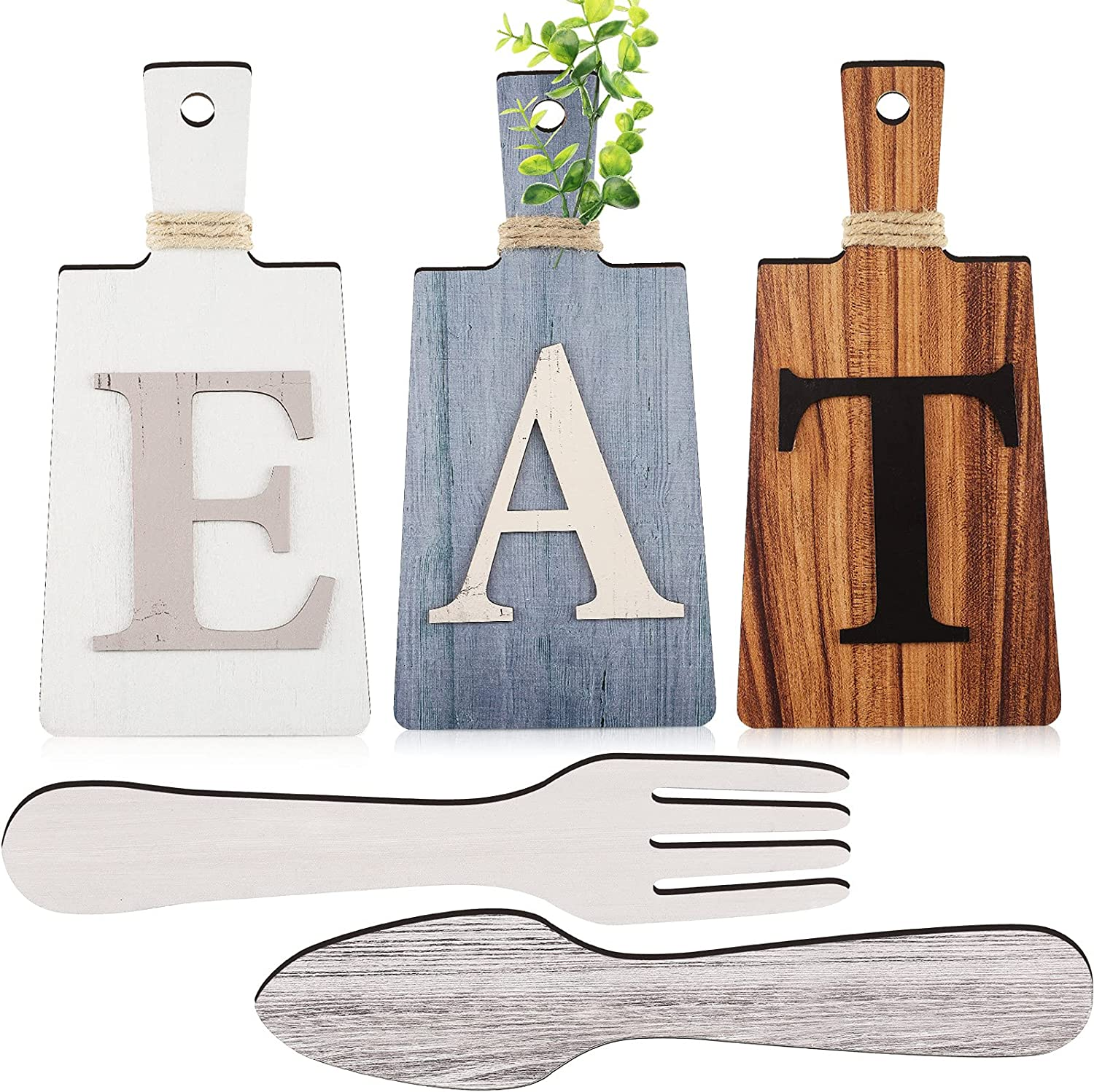 Jetec Cutting Board Eat Sign Set Hanging Art Kitchen Eat Sign Fork and Spoon Wall Decor Rustic Primitive Country Farmhouse Kitchen Decor for Dining Room Kitchen and Home Decoration, 3 Colors