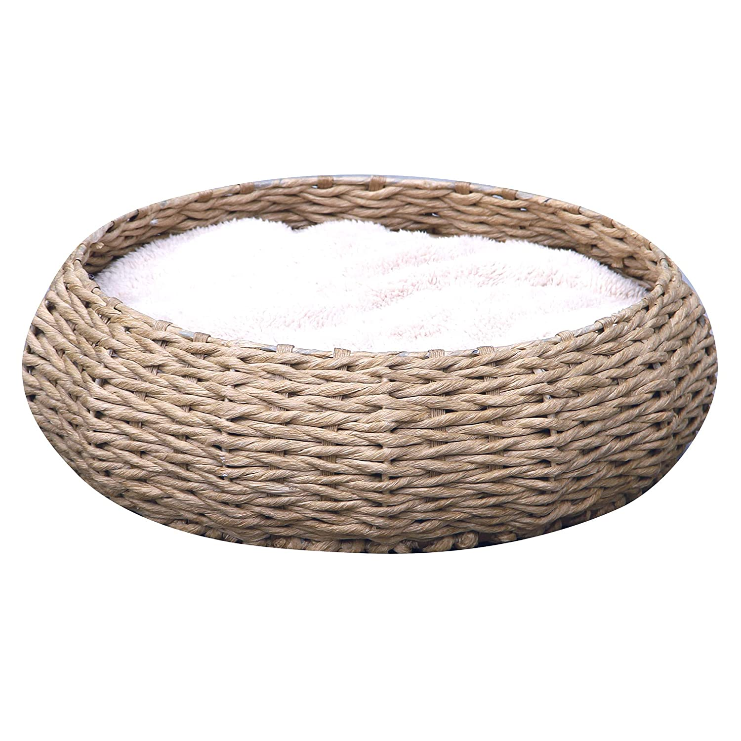 Petpals Hand Made Paper Rope Round Bed for Cat Dog Pet Sleep with Pillow, Natural
