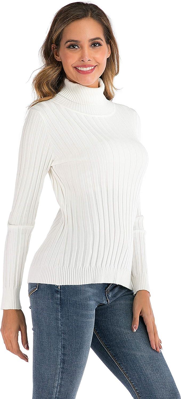 Enjoyoself Pull Femme Col Roul/é Tricot Hiver Chaud Thermal Chic Ajust/é Moderne Serr/é Col Montant Confortable sous-Pull Basique Pullover Laine Top Haut Manches Longues Vintage