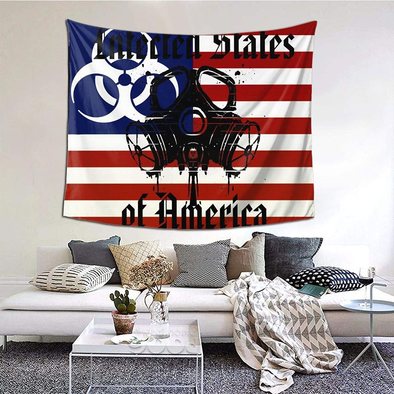 ANNBITION Tapestry Zombie Infected States of America Wall Hanging Home Decor for Living Room Bedroom Dorm Room 60 W X 51 H Inches