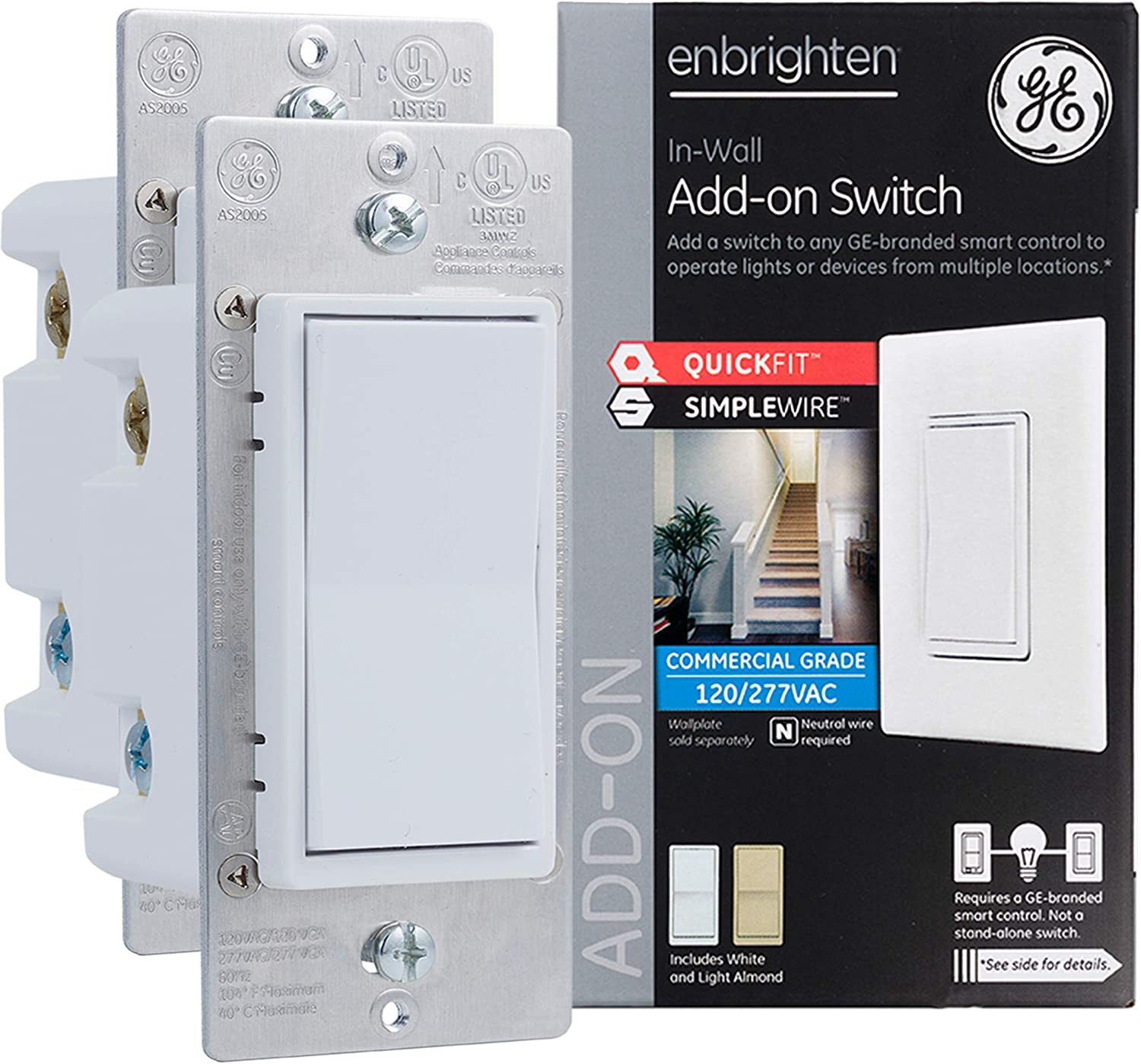 GE Enbrighten Add-On Switch 2-pack with QuickFit and SimpleWire, GE Z-Wave/GE Zigbee Smart Lighting Controls, Works with Alexa, Google Assistant, NOT A STANDALONE SWITCH, White & Light Almond, 47896