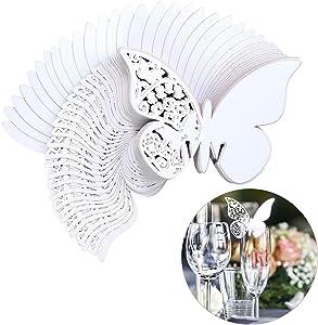 QH-Shop Tarjeta de Copa Mariposa 100 Piezas 3D Hollow Mariposa Nombre Lugar para Boda Invitaciones Regalo Detalle de Boda Cumpleaño Communion Blanco