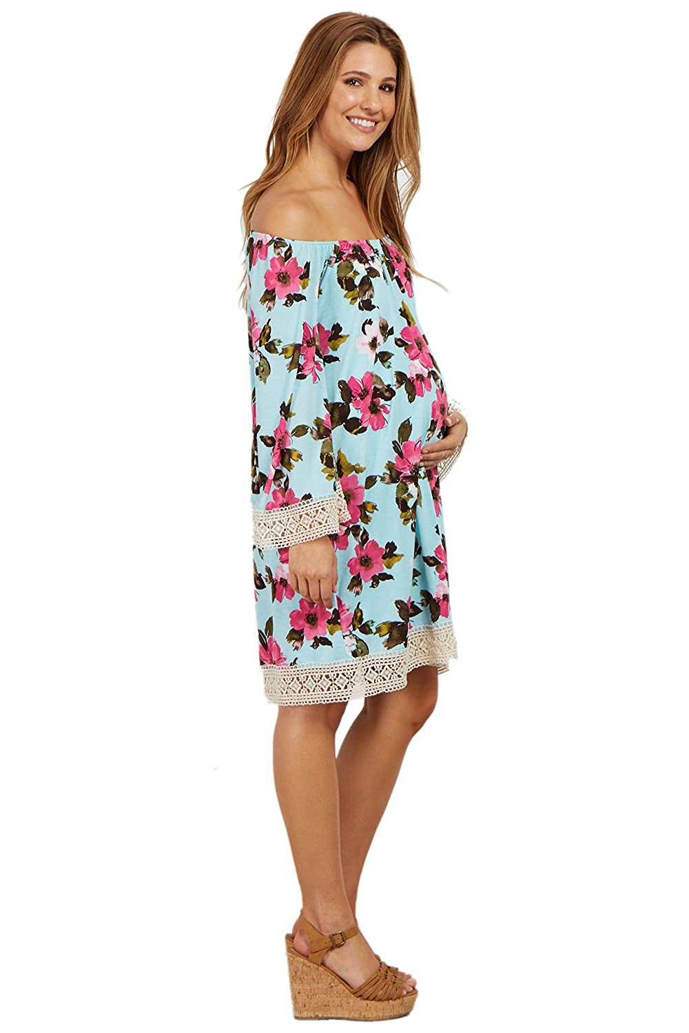 PinkBlush Maternity Floral Crochet Trim Off Shoulder Dress at Amazon Womens Clothing store: