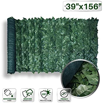 Patio Paradise 39u0026quot; X 156u0026quot; Faux Ivy Privacy Fence Screen With Mesh  Back