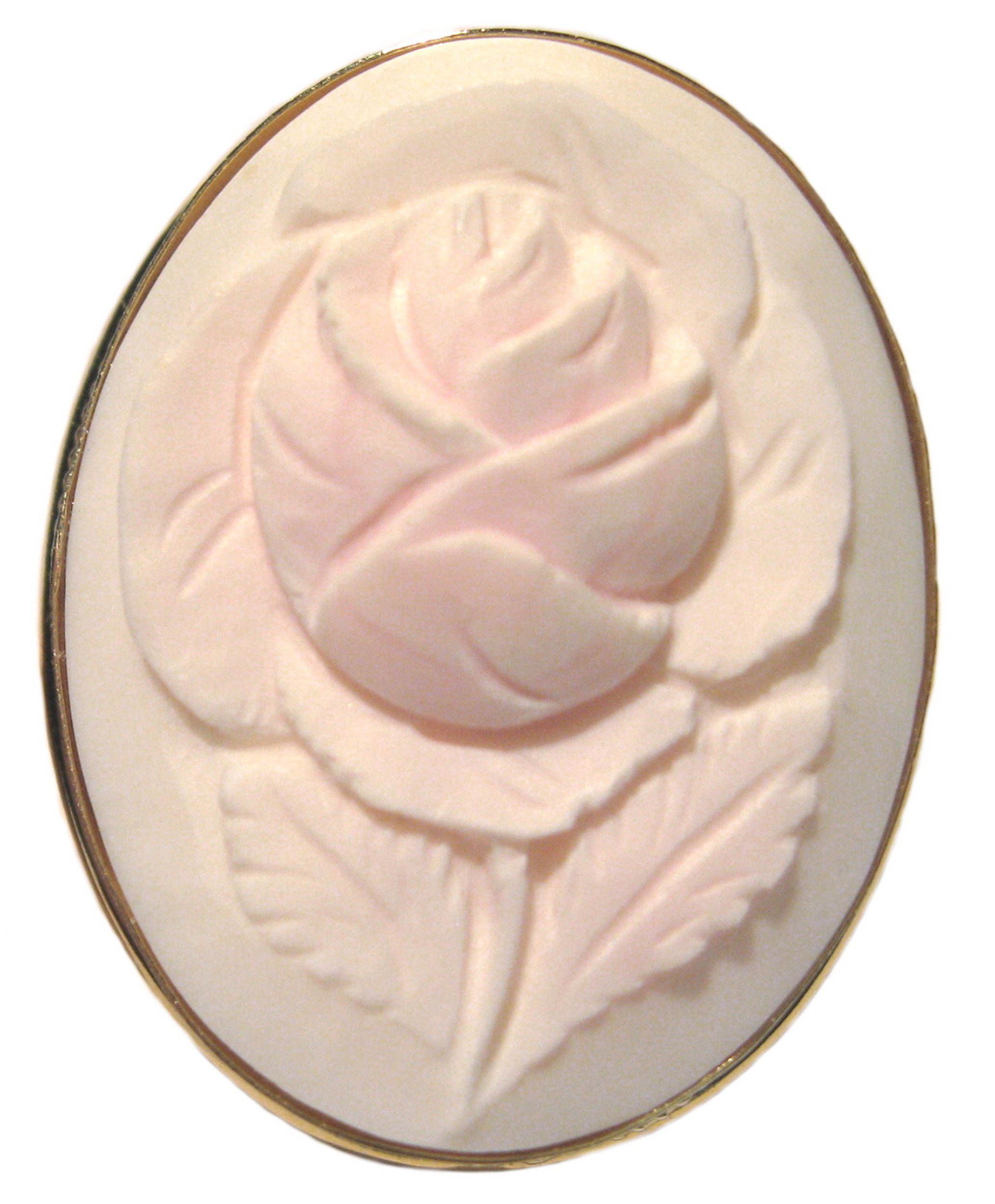 Cameo Brooch Pendant Master Carved Italian Art Deco Rose Angel Skin Shell Sterling Silver Gold Overlay