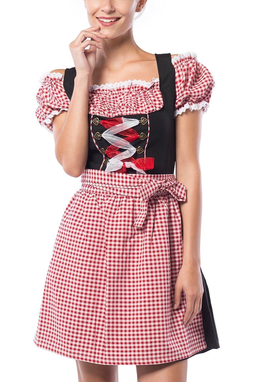 Partychimp Damen Dirndl Anne-Ruth Rot / Schwarz mit einer Bluße und Schürze, größe 36-48