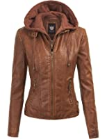 LL Womens Hooded Faux leather Jacket - Made in USA