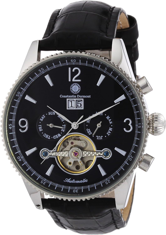 Constantin Durmont Crockett - Reloj analógico de caballero automático con correa de piel negra - sumergible a 30 metros