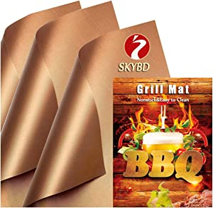 SKYBD Copper Grill Mats (Set of 6) -100% Non-Stick BBQ Grilling Sheet, Heavy Duty, Reusable, and Easy to Clean - Works for Outdoor Gas, Electric, Charcoal Grill