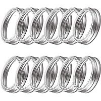 Anillos Mason Jar Bandas, de acero inoxidable, anillos de tapa de enlatado de boca regular [12 piezas]