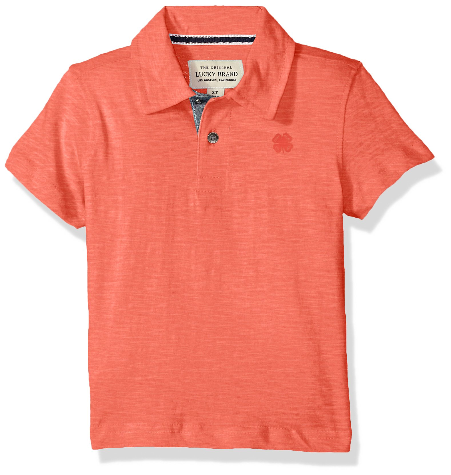 Lucky Brand Little Boys' Short Sleeve Polo, Washed Spiced Coral, 7