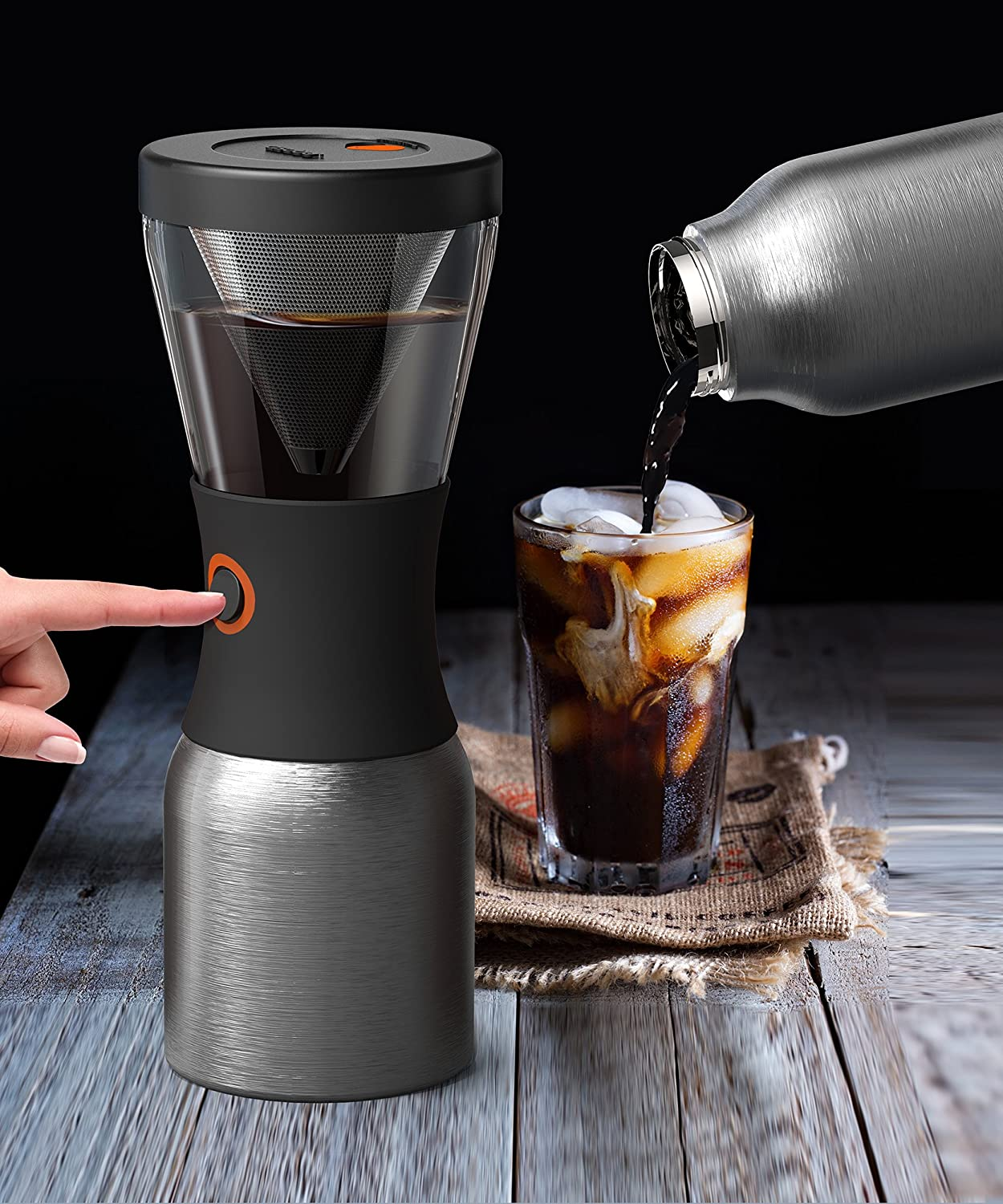 Asobu Coldbrew Portable Cold Brew Coffee Maker With a Vacuum Insulated 34oz Stainless Steel 18 8 Carafe Bpa Free Silver