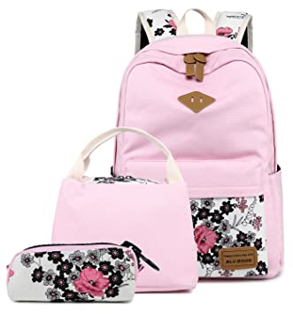 9a358c71f174 BLUBOON Teens Backpack Set Canvas Girls School Bags, Bookbags 3 in 1  (Floral Pink - 0014 3pcs)