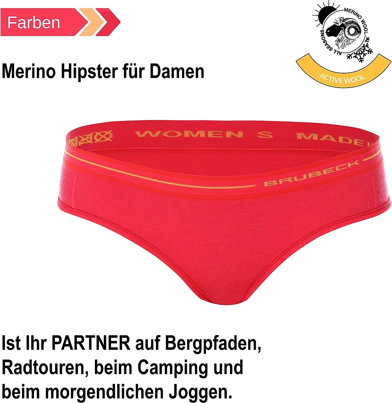 HI10190 Sport 41/% Merino-Wolle Schl/üpfer Funktions-Unterw/äsche Atmungsaktiv BRUBECK 4er Pack Merino Damen Hipster Slip Unterhose