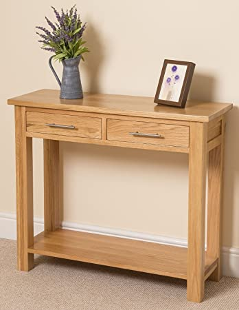 OAK FURNITURE KING Oslo Solid Oak Console Table 100 x 35 x 85 cm