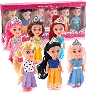 Liberty Imports 6 PCs Miniature Pocket Princess Dolls with Dresses Girls Play Set Collection (4.5-Inches)
