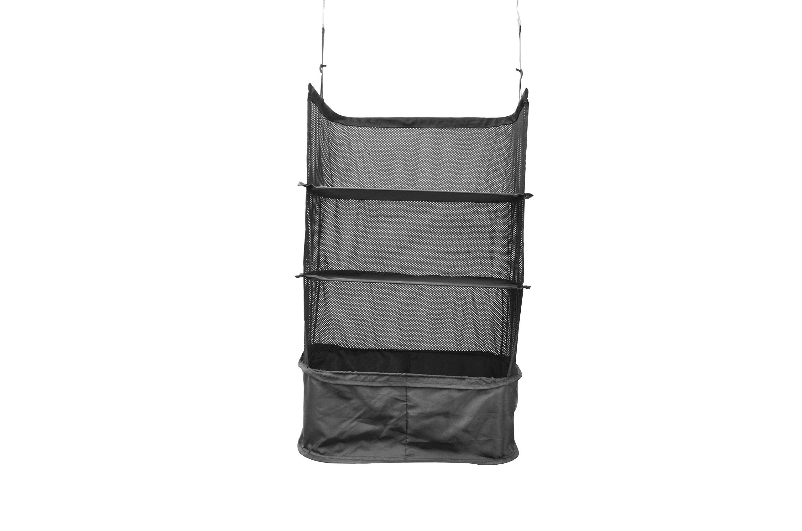 TopEva Folding Packable Suitcase Hanging Closet 3 - Shelves Organizer (Black)