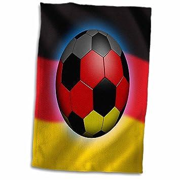 3dRose Alemania - Toalla de fútbol con Bandera Alemana, Color Blanco, 38,1