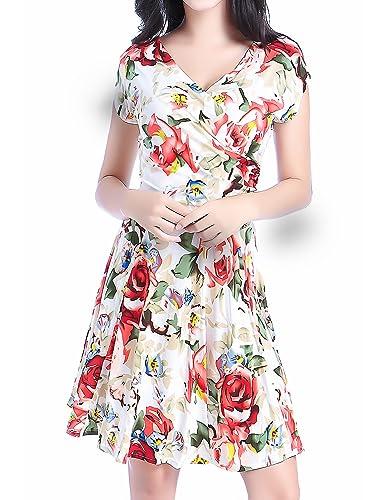 Women V28 Crossover V-neck short sleeve Polka dot pleated floral summer Dress