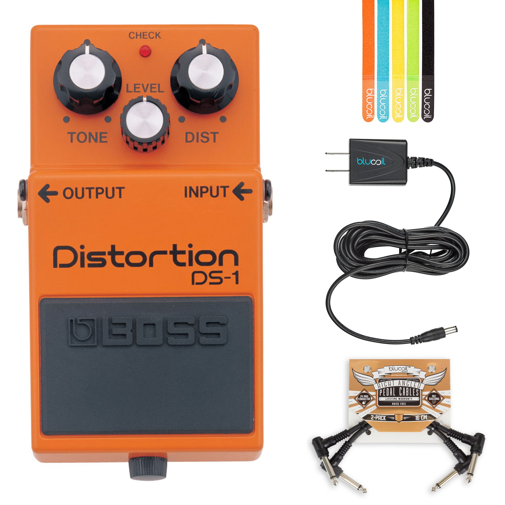 BOSS DS-1 Distortion Pedal BUNDLED WITH 2 Pack of Blucoil Pedal Patch Cables, Power Supply Slim AC/DC Adapter for 9 Volt DC 670mA AND 5-Pack of Cable Ties