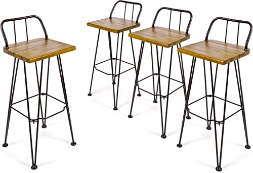 Christopher Knight Home Leonardo Outdoor Industrial Acacia Wood Barstools - the best outdoor bar stool for the money