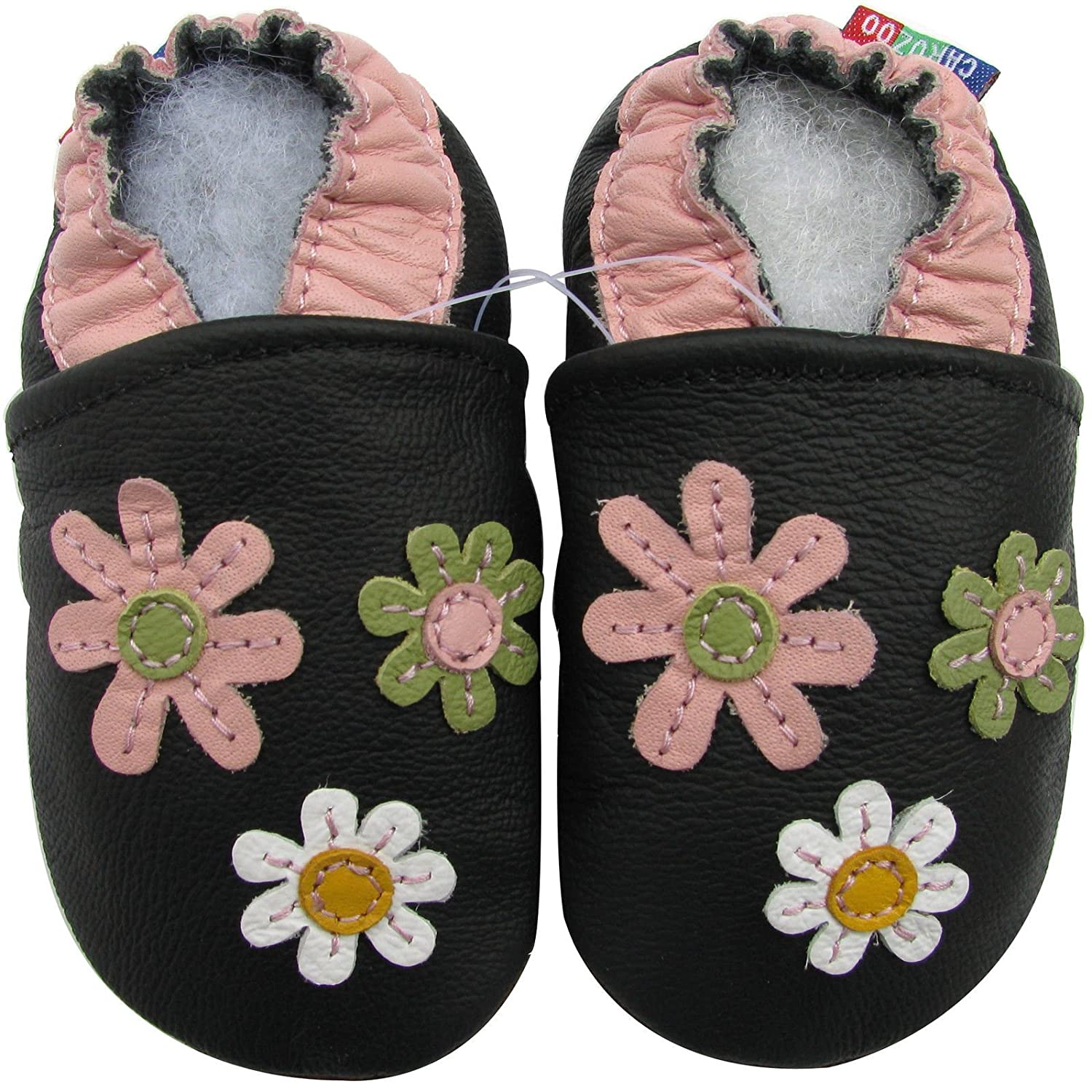 Carozoo 3 Flower Black Baby Girl Soft Sole Leather Shoes