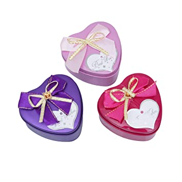 Buy Esslly Empty Tin Gift Box Heart Shaped Set Of 6 Heart Shape Online At Low Prices In India Amazon In