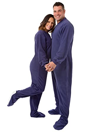 5b235e79bd Big Feet PJs Purple Micro-polar Fleece Adult Footed Pajamas with Drop Seat  (XS