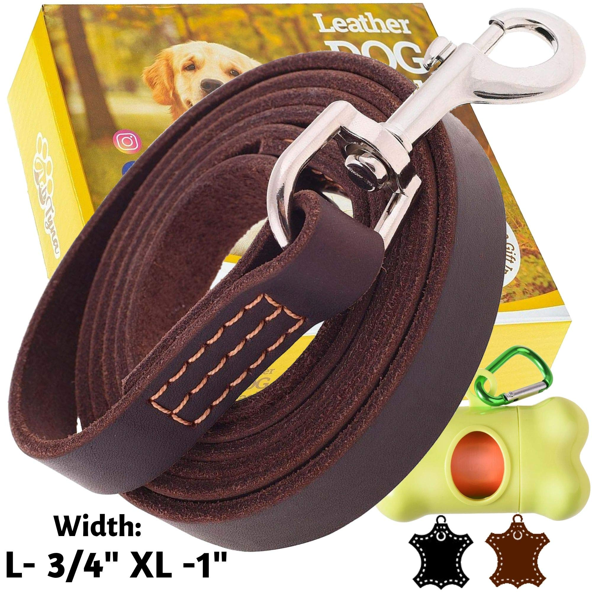 ADITYNA - Leather Dog Leash 6 Foot x 3/4 inch - Soft and Strong Leather Leash for Large and Medium Dogs - Dog Training Leash (Brown) by ADITYNA
