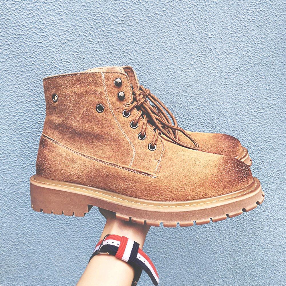 HL-PYL - Stiefel koreanischen Martin Stiefel englischen High Schuh Männer kurze Stiefel Retro Stiefel 42 gelb