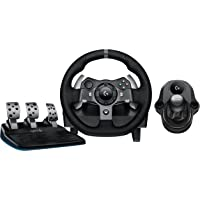 Logitech G920 Dual-Motor Feedback Driving Force Racing Wheel with Responsive Pedals for Xbox One & PC (Black) + Logitech G Driving Force Shifter