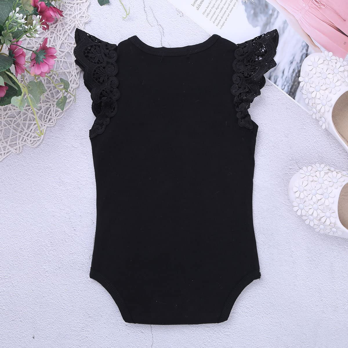 iiniim Newborn Infant Baby Girls Ruffle Lace Short Sleeve Bodysuit Solid Cotton Romper Jumpsuit Summer Top T Shirts